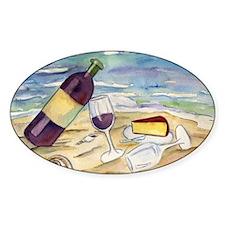 Wine Beach Party Oval Sticker