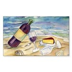 Wine Beach Party Rectangle Sticker 10Pk