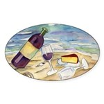Wine Beach Party Oval Sticker 10Pk