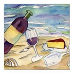 Wine Beach Party Square Car Magnet 3