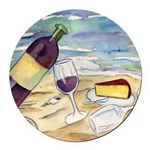 Wine Beach Party Round Car Magnet