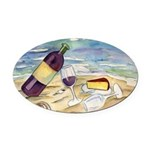 Wine Beach Party Oval Car Magnet