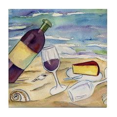 Wine Beach Party Tile Coaster