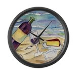 Wine Beach Party Large Wall Clock