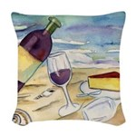 Wine Beach Party Woven Throw Pillow