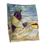 Wine Beach Party Burlap Throw Pillow