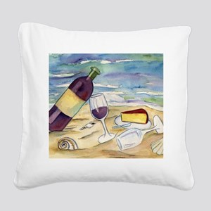 Wine Beach Party Square Canvas Pillow