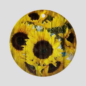 country sunflower western fashion Round Ornament