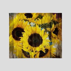 country sunflower western fashion Throw Blanket