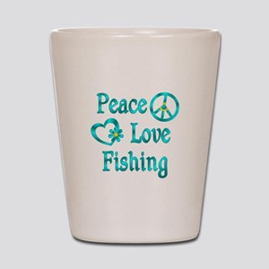 Peace Love Fishing Shot Glass
