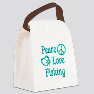 Peace Love Fishing Canvas Lunch Bag