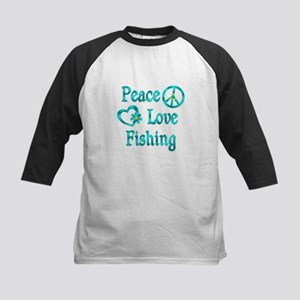 Peace Love Fishing Kids Baseball Jersey
