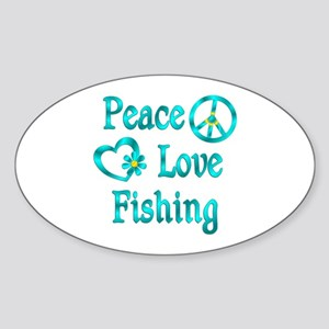 Peace Love Fishing Sticker (Oval)