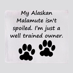 Well Trained Alaskan Malamute Owner Throw Blanket