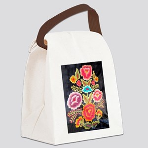 Mexican Embroidery Design Canvas Lunch Bag
