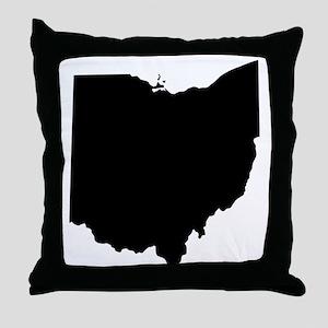 Black Ohio Throw Pillow