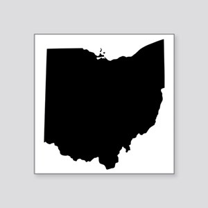 "Black Ohio Square Sticker 3"" x 3"""