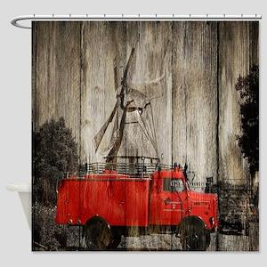 farm truck windmill Shower Curtain