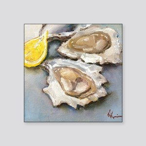 "Oysters with Lemon Square Sticker 3"" x 3"""