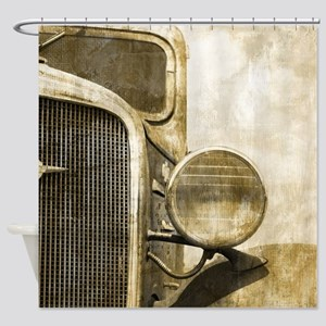 vintage farm truck  Shower Curtain