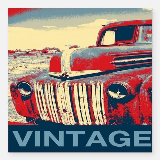 """vintage farm truck Square Car Magnet 3"""" x 3"""""""