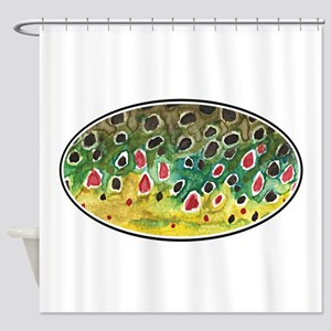 Brown Trout Fly Fishing Shower Curtain