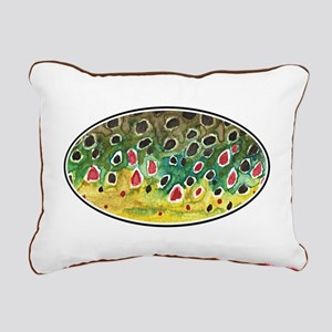 Brown Trout Fly Fishing Rectangular Canvas Pillow