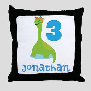 3rd Birthday Dinosaur Personalized Throw Pillow