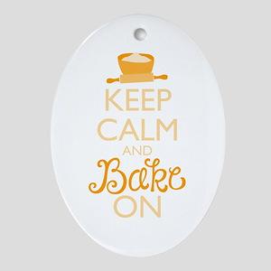Keep Calm and Bake On Ornament (Oval)