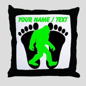 Custom Bigfoot Footprint Throw Pillow