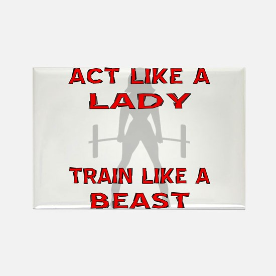 Train Like A Beast Rectangle Magnet