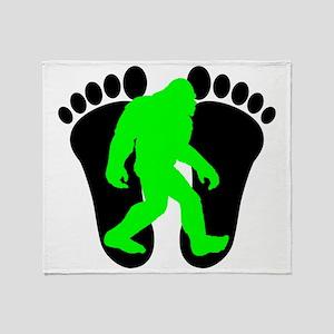 Neon Green Bigfoot Throw Blanket