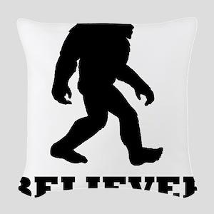 Bigfoot Believer Woven Throw Pillow