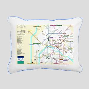 Paris Metro Map Rectangular Canvas Pillow
