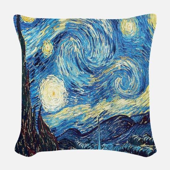 starry night van gogh Woven Throw Pillow