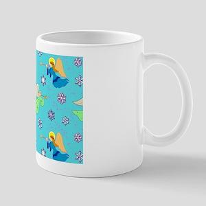 Angels in Blue, Snowflakes & Trumpets Mug