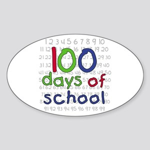 Numbers 100 Days Oval Sticker