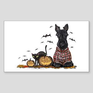 Halloween Scottie Sticker (Rectangle)