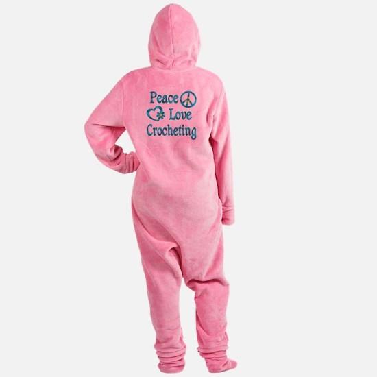 Peace Love Crocheting Footed Pajamas