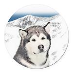 Alaskan Malamute Round Car Magnet