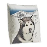Alaskan Malamute Burlap Throw Pillow