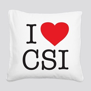 I Heart CSI Square Canvas Pillow