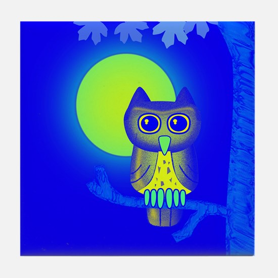Blue Owl Tile Coaster