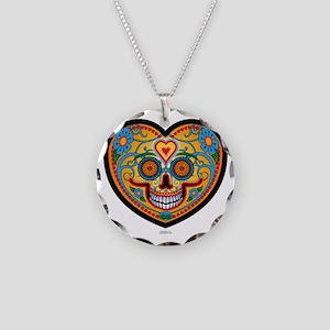 EL DiA DE LOS MUERTOS Heart  Necklace Circle Charm