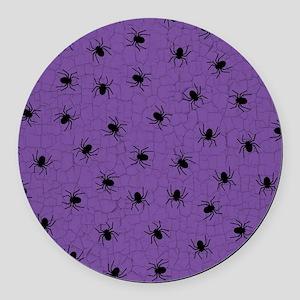 Purple Spider Pattern Round Car Magnet