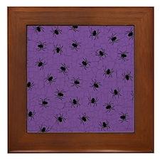 Purple Spider Pattern Framed Tile