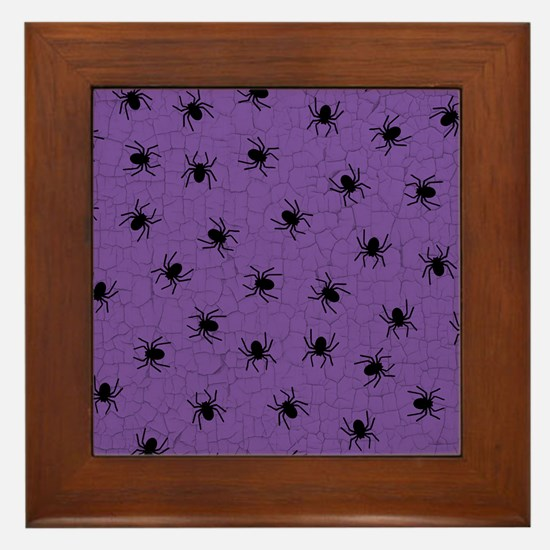 Purple Spider Pattern Framed Tile