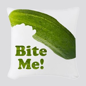 Bite Me! Pickle Woven Throw Pillow