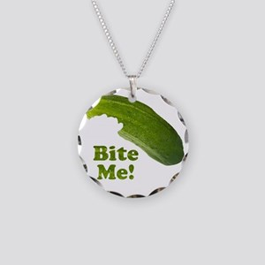 Bite Me! Pickle Necklace Circle Charm