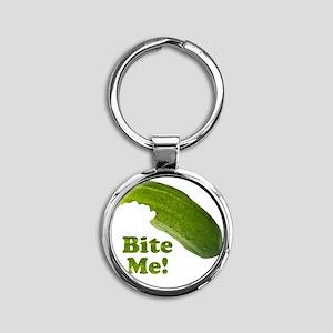 Bite Me! Pickle Round Keychain